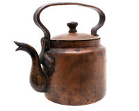 Antique copper kettle isolated on white Stock Photos