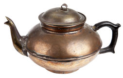 Antique copper pot. On white background Royalty Free Stock Image