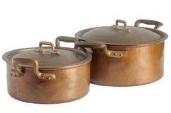 Antique copper pots Royalty Free Stock Image