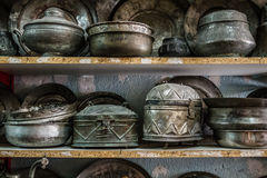 Antique Copper Pots and Vases for Sale in an Antique Shop Royalty Free Stock Photo