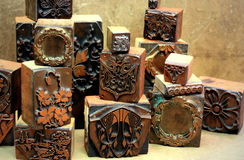 Antique Copper Printing Blocks Royalty Free Stock Photos