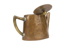 Antique copper teapot with open top on white Stock Photography