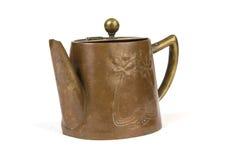 Antique copper teapot on white Stock Photo