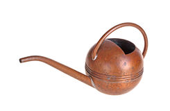 Antique copper watering can isolated against white Royalty Free Stock Photo