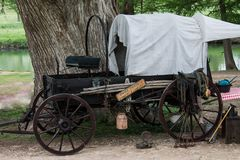 Covered pioneer chuck wagon ready to serve supper royalty free stock images