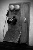 Antique crank phone (BW) Stock Image