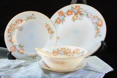 Antique crockery set , set of tableware Stock Photo