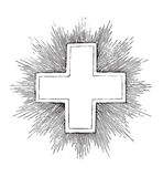 Antique cross engraving (vector). Antique cross engraving, grunge style; scalable and editable vector illustration; hi-res jpg included royalty free illustration