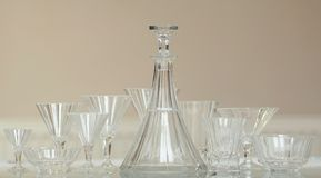 Antique crystal glass decanter set functionalis Stock Images