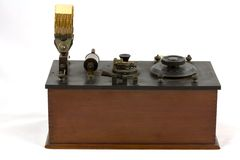 Antique crystal radio receiver. A 1920s crystal radio receiver used for domestic broadcast reception stock photo