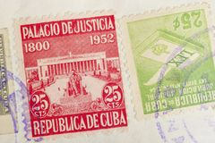 Antique cuban stamps with postmarks. Vintage historic philately. stock images