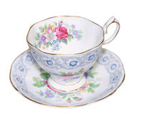 Antique Cup and Saucer. Isolated with clipping path Royalty Free Stock Photo