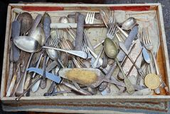 Antique Cutlery, Athens Flea Market Royalty Free Stock Images