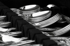 Antique cutlery. A canteen of antique silver cutlery on display Royalty Free Stock Photos