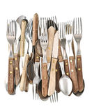 Antique cutlery. Retro kitchen utensils knife, fork and spoon Royalty Free Stock Photos