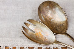 Antique cutlery - spoon and fork Stock Photography