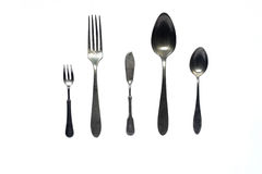 Antique cutlery. (spoons and forks). Isolated Royalty Free Stock Photography