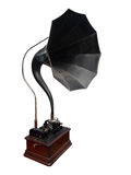 Antique Cylinder Gramophone. Isolated wth clipping path Royalty Free Stock Images
