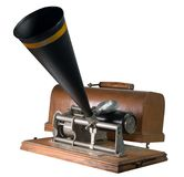 Antique Cylinder Phonograph. Nineteenth century cylinder phonograph or graphophone.  This is a key wound budget model which sold for around $10.00 Royalty Free Stock Image