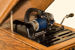 Antique Cylinder Phonograph Detail. Close up of antique tabletop cylinder phonograph mechanism with blue celluloid cylinder.  Vintage technology circa 1920 Stock Image
