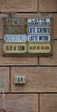 Antique de fer écrit indiquer les nourritures vendues image libre de droits