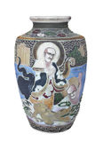 Antique decorated Chinese vase isolated. Royalty Free Stock Images