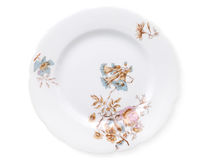 Antique decorated porcelain plate isolated Stock Photography