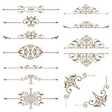 Antique decorative elements, and scroll elements, set page dividers. Royalty Free Stock Image