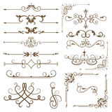 Antique decorative elements, set baroque ornaments for design. Royalty Free Stock Images