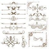 Antique decorative elements, set baroque ornaments for design. Royalty Free Stock Images