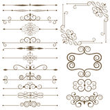 Antique decorative elements, set page dividers. Stock Photos