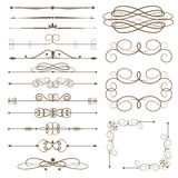 Antique decorative elements, set page dividers. Royalty Free Stock Photo