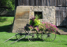 Antique decorative flower cart Royalty Free Stock Photos