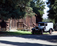 Antique Delivery Truck & Barn royalty free stock photography