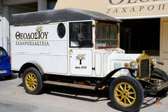 Antique Delivery Van at a Greek cake Shop, Greece stock photography