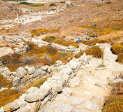 Antique  in delos greece the historycal acropolis and old ruin s. In delos greece the historycal acropolis and       old ruin site Stock Photos