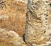 Antique  in delos greece the historycal acropolis and old ruin s. In delos greece the historycal acropolis and       old ruin site Royalty Free Stock Photography