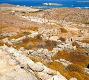 Antique  in delos greece the historycal acropolis and old ruins Stock Photos