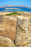Antique  in delos greece the historycal acropolis and old ruins Stock Photography