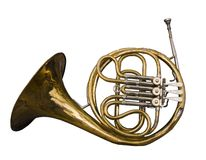 Antique Dented French Horn. Well loved and weathered by time Stock Image