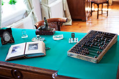 Antique desk with objects Royalty Free Stock Photo
