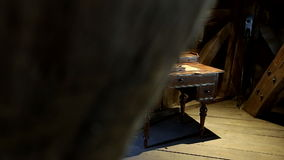 Antique desk. Stunning antique desk with book and pen stock footage