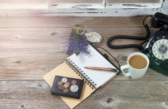Antique desktop objects and nature decorations with bright hazy Stock Images