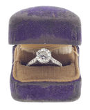 Antique Diamond from 1920 in Worn Ring Box Stock Photo