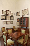 Antique dinette. Antique noble dinette with wooden furniture in Italy during the Renaissance Stock Photo