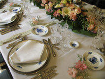 Antique dinner table Stock Photo