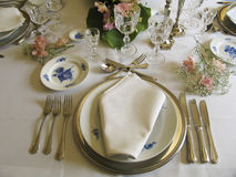 Antique dinner table Royalty Free Stock Images