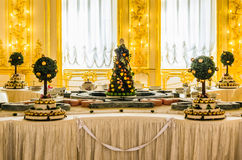 Antique dinner table in Catherine Palace Stock Photos