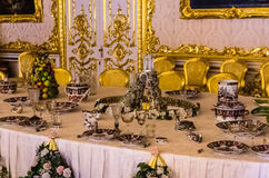 Antique dinner table in Catherine Palace Royalty Free Stock Photo
