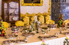 Antique dinner table in Catherine Palace Stock Image